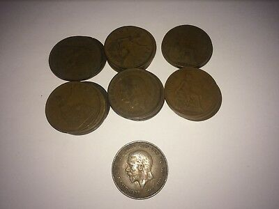 GEORGE V PENNY coins - UK - 1911 to 1936