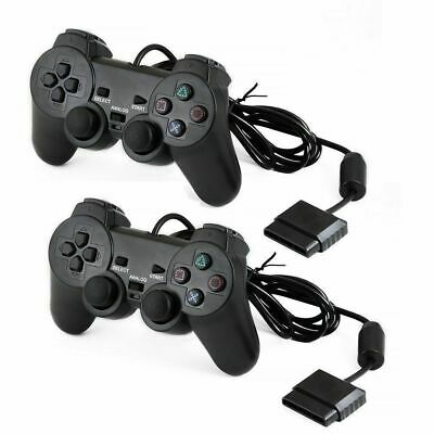 2pcs Wired Black Dual Shock Controller for PS2 PlayStation Joypad Gamepad