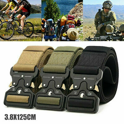 Mens Heavy Duty Military Canvas Belt Tactical Bag Army Outdoor Utility Waistband