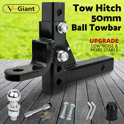 Adjustable 50mm Towbar Towing Ball Mount Tongue Hitch Trailer 4WD Car 3500KG OZ