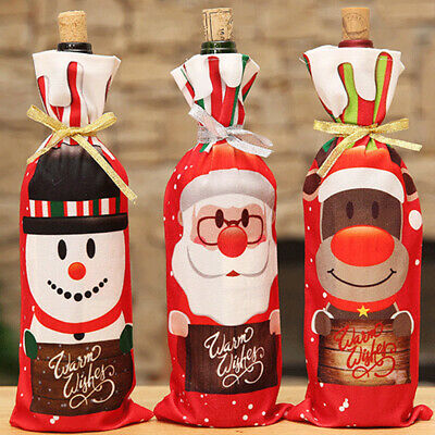 Christmas Decorations for Home Santa Claus Wine Bottle Cover Snowman Holder B