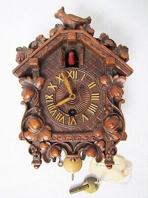 Vintage Miniature Cuckoo Clocks By Lux-USA with Key.