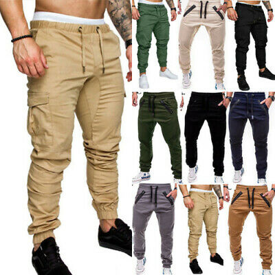 Men Slim Fit Elasticated Waist Cargo Summer Trousers Casual Bottoms Long Pants