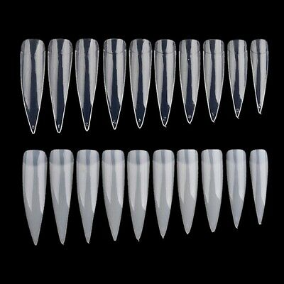 500x/Pack Natural Clear Long French Stiletto Artificial Nail Tips Art UV Gel Hot