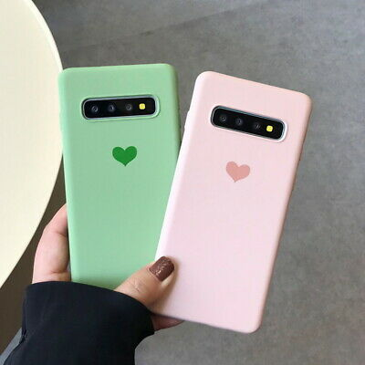Matte Heart Pattern Rubber Soft Case Cover For Samsung Galaxy S10 Plus S9 S8 S7
