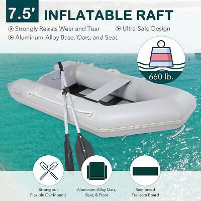 10.8Ft 0.9mm PVC Inflatable Fishing Boat Tender Raft with Aluminum Floor