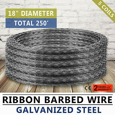 "Razor Barbed Wire 18"" 5  Coils 250' Coverage 18""Diameter Military Garden Helical"