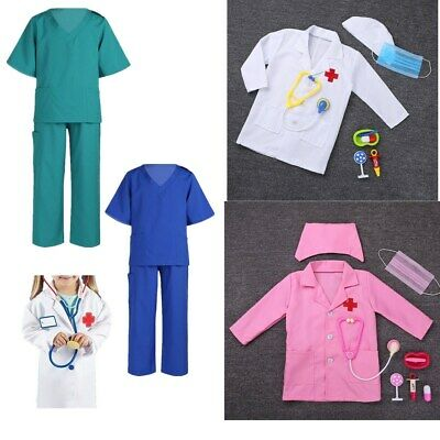 Kids Boys Girls Children Surgeon Costume Doctors Coat Fancy Dress Party Outfit