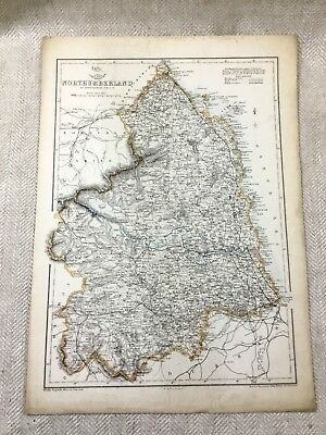 Antique Map Northumberland County England 19th Century Old Hand Coloured