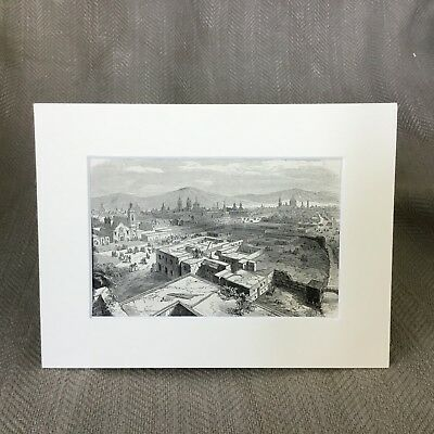 Antique Print Old Mexico City Landscape View Victorian Original Victorian Art