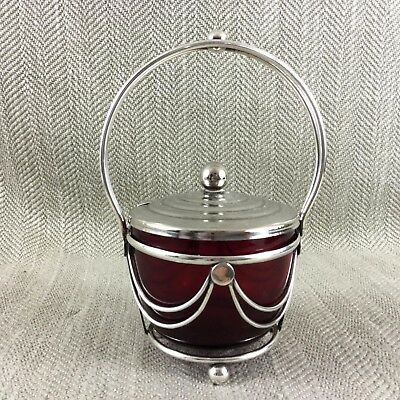 Antique Jam Jar Preserve Pot Ruby Red Cranberry Glass Silver Plated
