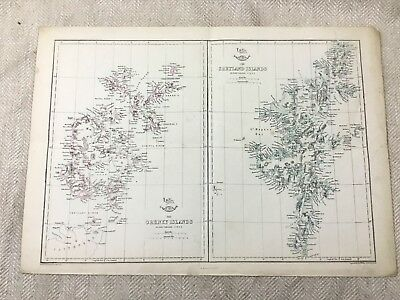 Antique Map Orkney Shetland Islands Scotland 19th Century Old Hand Coloured