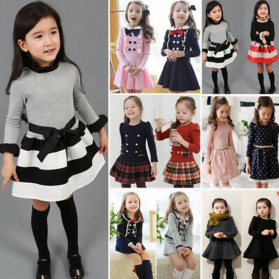 AU Kids Girls Princess Long Sleeve Tutu Skirt Dress Toddler Autumn Party Clothes