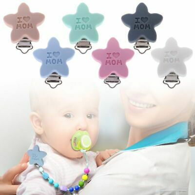 Baby Newborn Pacifier Clips Soother Teether Star Shape Silicone Holder Infant