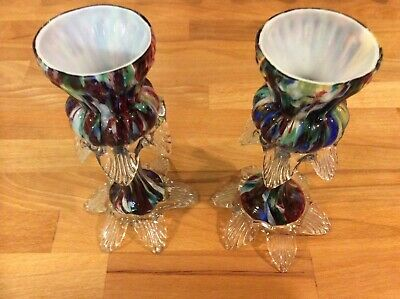 Beautiful Pair of Antique End of Day Glass Candlesticks 17cm.
