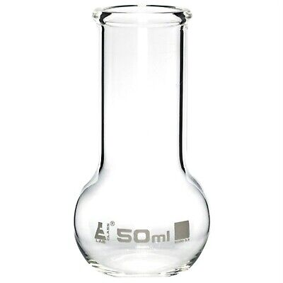 LabGlass Flat Bottom Boiling Flask Wide Neck with Beaded Rim  50ml Pack of 12