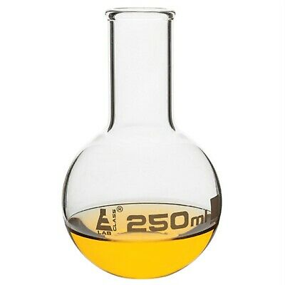 LabGlass Flat Bottom Boiling Flask Narrow Neck with Beaded Rim 250ml Pack of 12