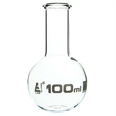 LabGlass Flat Bottom Boiling Flask Narrow Neck with Beaded Rim 100ml Pack of 12