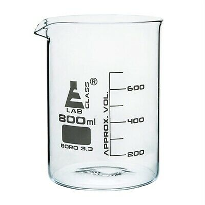 LabGlass Low Form Beaker with Spout Graduated 800ml Pack of 6