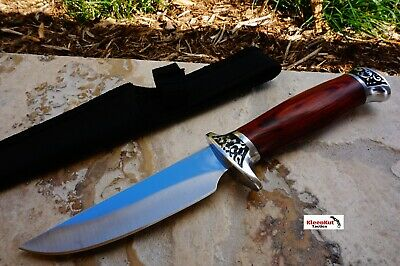 "NEW 10.25"" COMBAT Brown Wood Fixed Blade Knife Survival Hunting w/ Nylon Sheath"