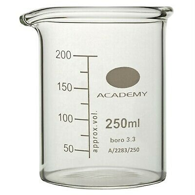 Academy Low Form Glass Beaker Heavy Wall 250ml Pack of 12