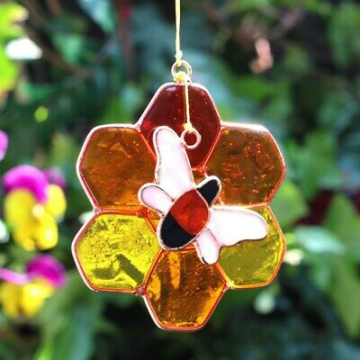Stained Glass Bumble Bee Sun Catcher Hanging Window Decoration Honeycomb Copper