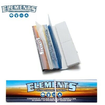 Elements King Size Connoisseur Rolling Ultra Thin Papers with Filter Tips Roach