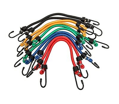 10x Bungee Cord Elastic Luggage Strap Rope Hooks Stretch Tie Car Van Trailor