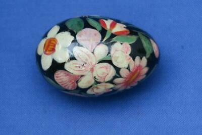 LACQUERED HAND PAINTED EGG Pink & White Flowers