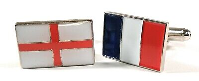 England & France Friendship Cufflinks in Gift Pouch 20mm FREE UK P&P
