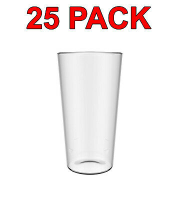 Eco-Friendly Reusable Plastic Pint Glass Beer Glasses Party Catering 600ml 25Pc