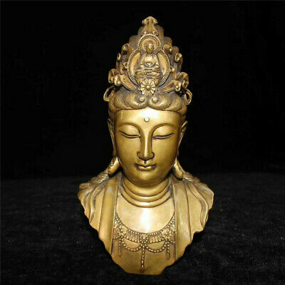 "7.87"" Collection Old Chinese pure copper Hand-made Kwan-yin head statue"