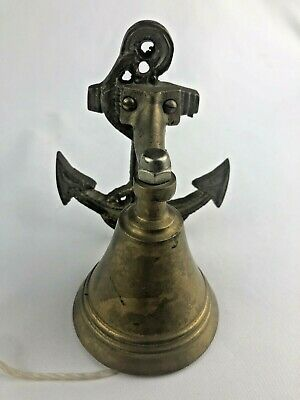 Vintage Nautical Brass Ship Bell-Wall Mount-Anchor-Boat-Dinner Bell