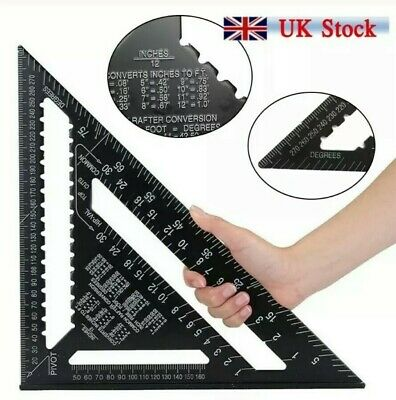 12Inch ROOFING SPEED SQUARE ALUMINIUM RAFTER ANGLE MEASURE TRIANGLE GUIDE 23D