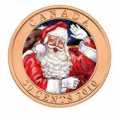 2010 Santa and The Red-Nosed Reindeer Canada 50 Cents Lenticular Coin