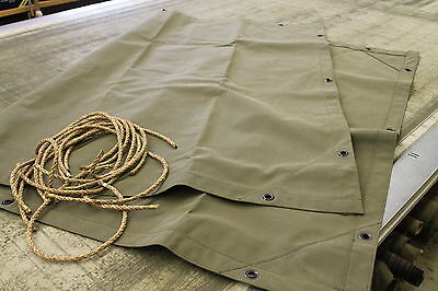 MBT, M100 Military 1/4 Ton Trailer Canvas Tarp with ropes
