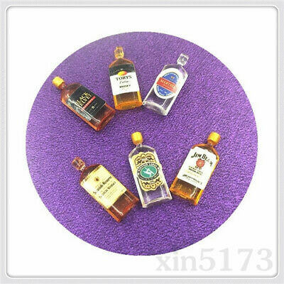 Pub Bar Drink Accessory Set 6 Dollhouse 1:12 Wine Whiskey Bottles Shop Miniature