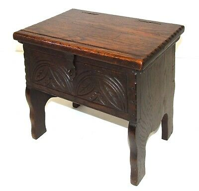 Antique Victorian Carved Oak Joint Stool Occasional Table Lamp Stand Slipper Box