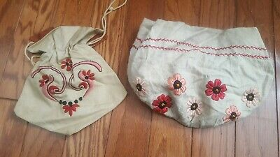 CLASSIC ANTIQUE ARTS CRAFTS MISSION STYLE STICKLEY ERA EMBROIDERED Purses Bags