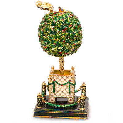 """10"""" Bay Tree Faberge Egg Replica. Musical Egg Plays Swan Lake. Made in Russia"""