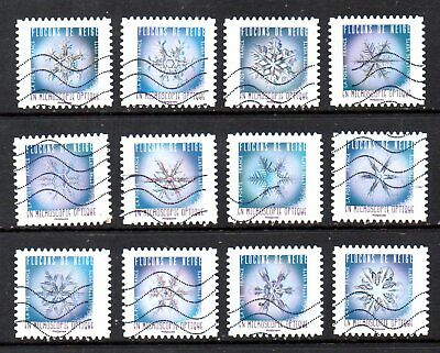 France - French - 2018 - Snowflakes - Fu - Full Set Of 12 Stamps