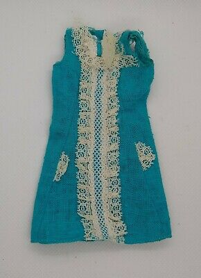 Vintage 1967 Francie Iced Blue #1247 - Blue Dress with Laced Ruffles