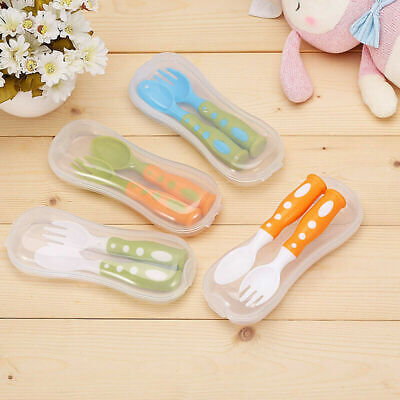 3 Pairs Lovely Feeding Spoon and Fork Safety Feeding for Kids Children Plastic