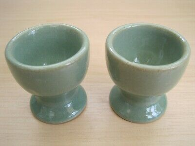 Vintage Matching Pair of Early Denby Pottery Manor Green Egg Cups