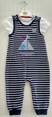New Baby Cloths Blue Nautical - 2 piece set - 9 - 12 months New With Tags
