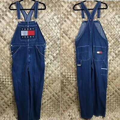 dec014dd Vintage Tommy Hilfiger Jeans Medium Spell Out Logo Overalls Huge Flag