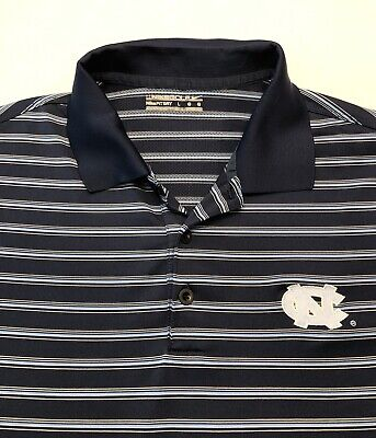 b9092213 Nike Golf Men's Unc Blue Striped Short Sleeve Polo Rugby Shirt Large Fit Dry