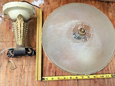 Antique semi flush Art Deco Frosted glass shade ceiling light fixture