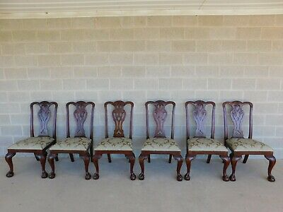 Maitland Smith Chippendale Style Mahogany Ball & Claw Foot Set of 6 Side Chairs
