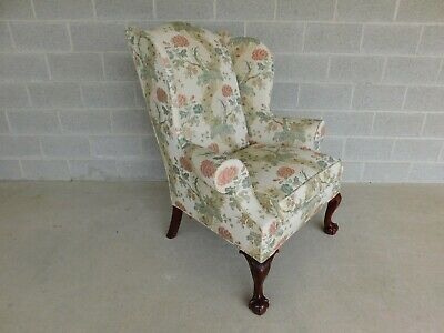 Kindel Chippendale Style Ball & Claw Foot Wing Back Arm Chair